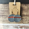 Geometric Minimalist Polymer Clay Large Circle Dangle Statement Earrings