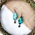 Boho Minimalist Fantasy Polymer Clay Oval Dangle Statement Earrings