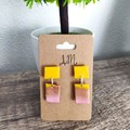 Geometric Polymer Clay Rectangle Stud Statement Earrings