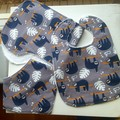 Baby bib, bandanna and burp cloth set, baby gift