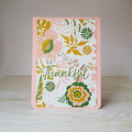 So Thankful, Thank You Card, Pink Floral Greeting Card