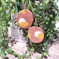 Geometric Polymer Clay Large Spotted Oval Dangle Statement Earrings