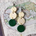 Minimalist Polymer Clay Triple Circle Dangle Statement Earrings