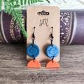 Minimalist Polymer Clay Semicircle Dangle Statement Earrings