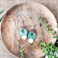 Boho Beach Vibes Polymer Clay SemiCircle Shell Dangle Statement Earrings