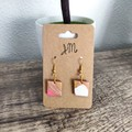 Geometric Polymer Clay Small Square Dangle Statement Earrings
