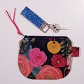 Pink and blue floral makeup coin purse