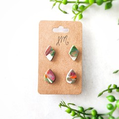 Cute Abstract Marble Polymer Clay Surgical Steel Stud Statement Earrings