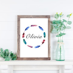 Boho Personalised Name Wreath, Water colour, Multi coloured Feathers, Digital