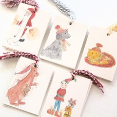 5 Mini Gift Tags | Blank Gift Cards | Cat Dog Elf Santa Kangaroo | Christmas