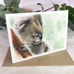 Koala painting greeting card, Australian wildlife art, Recycled paper. marsupial