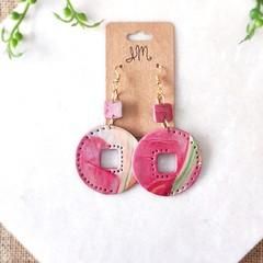 Geometric Minimalist Boho Cutout Circle Polymer Clay Statement Earrings