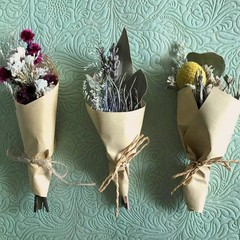 3 Mini dried bouquets - Dried flowers - Mini Country - 13cm - Baby Shower
