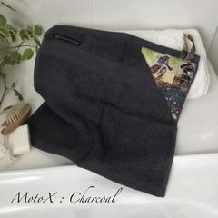 """""""MOTO X"""" Charcoal        BATH WASHERS // MINI HAND TOWEL"""