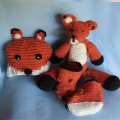 Fox Trio, Soft Toy+Beanie+Booties