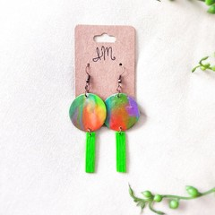Mid-century modern Polymer Clay Abstract Circle Dangle Statement Earrings