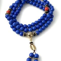 Lapis Lazuli color Mala Long necklace for meditation.