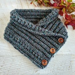 Dark Grey  Adult Vintage Hand Crochet Knitted Buttoned Neck warmer Cowl Scarf