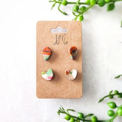 Cute Abstract Marble Polymer Clay Stud Statement Earrings