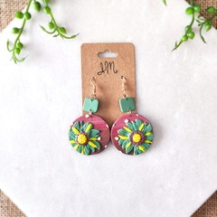 Minimalist Boho Large 3D Flower Circle Polymer Clay Statement Earrings
