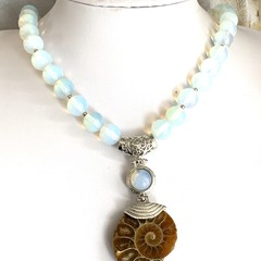 Natural AMMONITE Fossil Pendant in OPALITE Beaded Necklace.