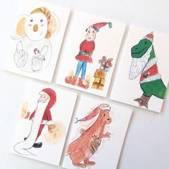 5 Mini Gift Cards, Blank Gift Tags, Christmas Dino Santa Koala Elf Kangaroo