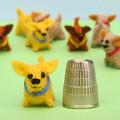 Miniature Felt dog - Tiny animals pet toy - thimble sized