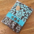 Fabric Covered Journal - Brown/Aqua