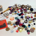 VINTAGE BUTTONS, SEWING Notions, Haberdashery, Buckles, Cotton Reels, Cat Tin