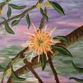 Peachy Grevillea Acrylic Painting
