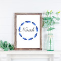Boho Personalised Name Wreath,  BLUE Water colour Feathers, Digital, boys,