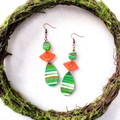 Mid-century modern Polymer Clay Abstract Tear drop Dangle Statement Earrings