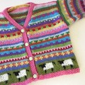Red sheep Cardigan  -  Size 6-12 months - Hand knitted