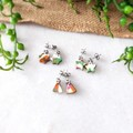 Cute Abstract Marble Polymer Clay Stainless Steel Stud Statement Earrings