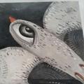 Grey bird acrylic painting original art copper legs