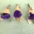 3 Mini dried bouquets - Dried flowers - Mini Midnight - 14cm - Purple - Gift