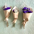 3 Mini dried bouquets - Dried flowers - Mini Purple - 12cm - Wrapping gift