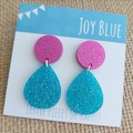 Sparkly drop earrings - hot pink and blue