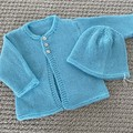 Aqua Cardigan and hat - Newborn - pure wool - Hand knitted