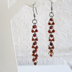 Long Gothic seed bead black metal hoop linked rings dangling earrings ,  Red