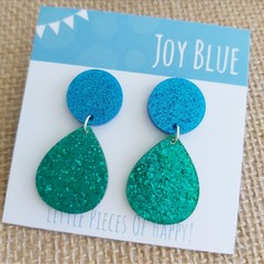 Sparkly drop earrings - blue and green