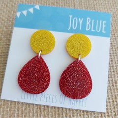 Sparkly drop earrings - yellow and red