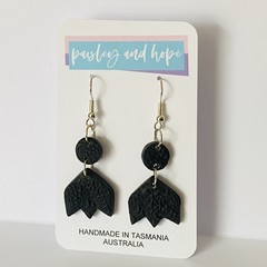 Pretty black polymer clay hook dangles with imprint