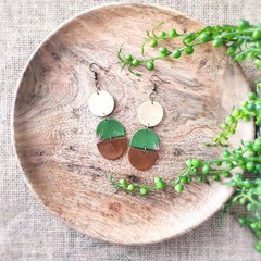 Boho Modern Western Fine Art Polymer Clay Dangle Statement Earrings