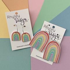 Silver Glitter, Colourful Rainbow Earrings