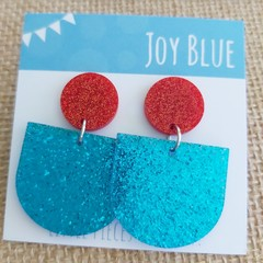 Sparkly drop earrings - red and blue