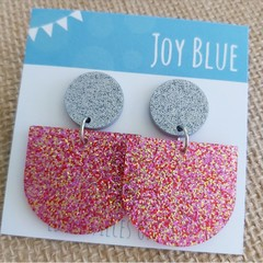 Sparkly drop earrings - silver and pink
