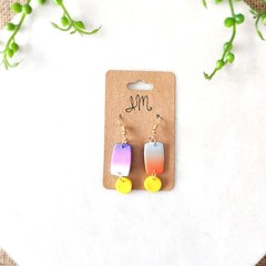 Minimalist Boho Gradient Rectangle Polymer Clay Statement Earrings