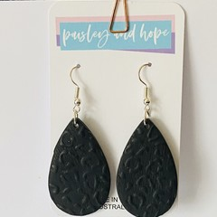 Gorgeous black leopard pattern polymer clay hook dangles