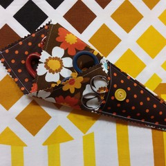 Handy Scissor Holder- Funky retro flowers in orange and white on brown
